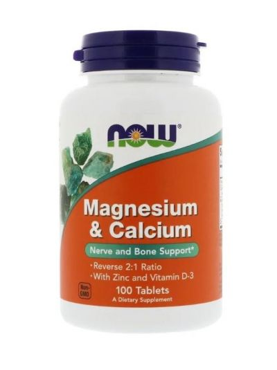 Now Foods Magnesium & Calcium Reverse 2:1 Ratio mit Zink und Vitamin D-30 100 Tabletten