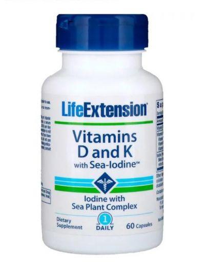 Life Extension, Vitamin D und K mit Meer-Jod, 60 Kapseln