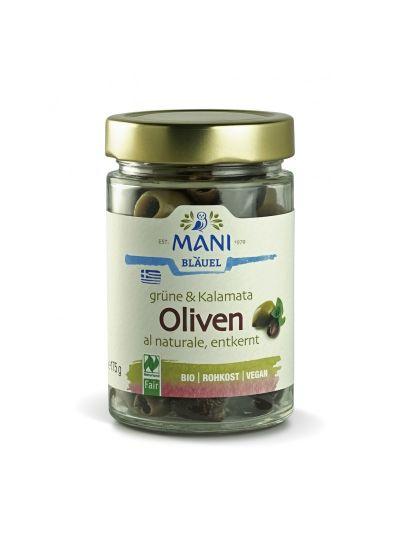 MANI Grüne & Kalamata Oliven al naturale, entkernt, bio, NL Fair, 175g Glas