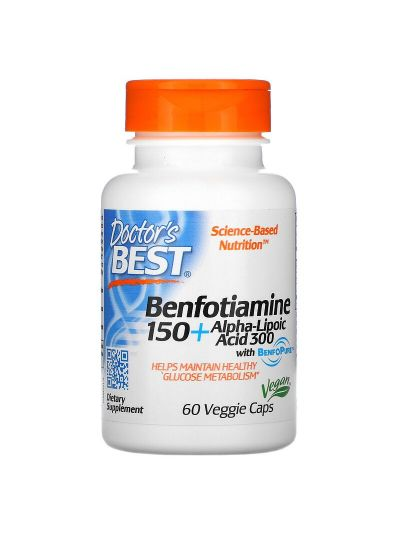 Doctor's Best Benfotiamin 150 + Alpha-Liponsäure 300, 60 vegetarische Kapseln