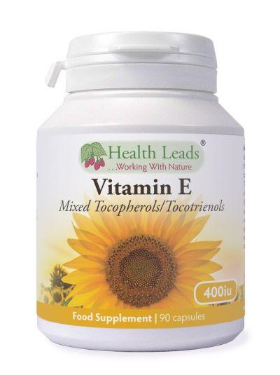 Health Leads Vitamin E (Natürlich) Gemischte Tocopherole / Tocotrienole 400iu x 90 Kapseln