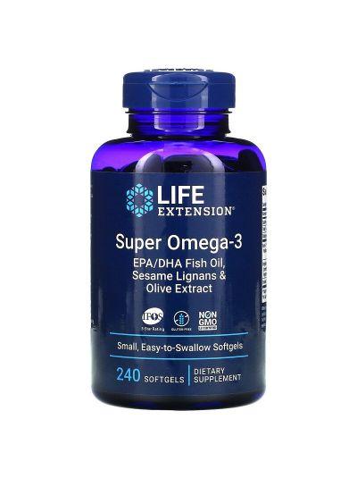 Life Extension Super Omega-3 EPA/DHA m. Sesamlignan + Olivenextrakt 240 Softgels