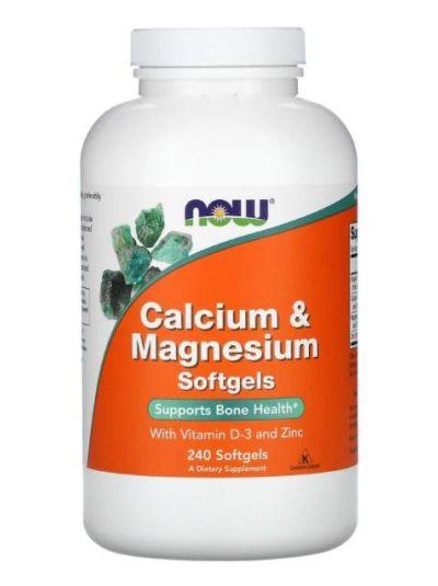 Now Foods, Kalzium & Magnesium mit Vitamin D-3 und Zink, 240 Softgels