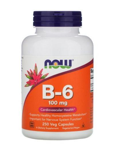 Now Foods, B-6, 100 mg, 250 Veg Kapseln