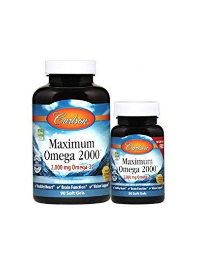 Carlson Labs, Maximum Omega 2000, Natürliches Zitronenaroma, 2.000 mg, 120 Weichkapseln
