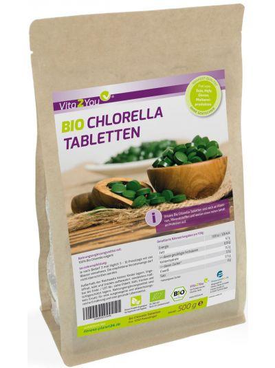 Vita2You Bio Chlorella Tabletten 500g (ca. 1250 Presslinge) - Premium Qualität