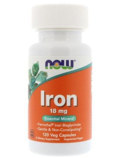 Now Foods Eisen 18 mg 120 Veggie-Kapseln