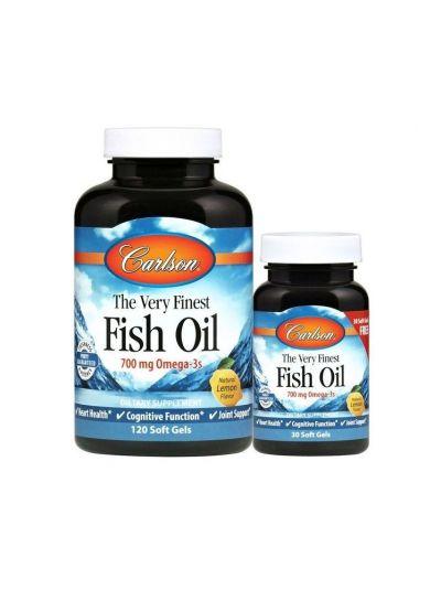 Carlson Labs, Das allerfeinste Fischöl, Natürlicher Zitronengeschmack, 120 + 30 gratis Weichgelkapseln