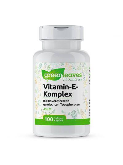 Green Leaves Natürliches Vitamin E Komplex mit gemischten Tocopherolen 100 Softgel-Kapseln