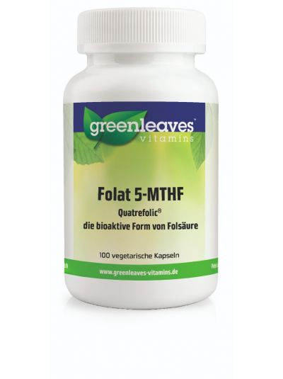 Green Leaves Vitamins Bioaktives Folat 5-MTHF 400mcg 100 Kapseln