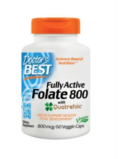 Doctor's Best Voll aktives Folat 800 mcg mit Quatrefolic 60 vegetarische Kapseln
