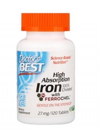 Doctor's Best Hoch Absorbierbarer Eisen Elementares / Chelatiertes 27mg 120 Tabletten