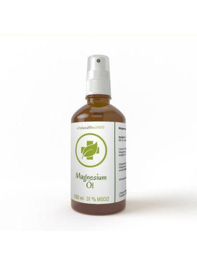 Vitalundfitmit100 Magnesiumöl in Glasflasche inkl. Zerstäuber/Sprühkopf 100 ml