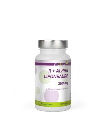 Vita2You R-Alpha Liponsäure 250mg -  Hohe Bioverfügbarkeit - Hochdosiert 120 Kapseln