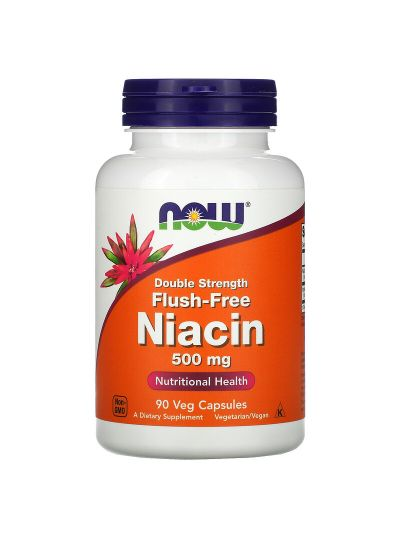 Now Foods, Spülfreies Niacin, doppelte Stärke, 500 mg, 90 Gemüsekapseln
