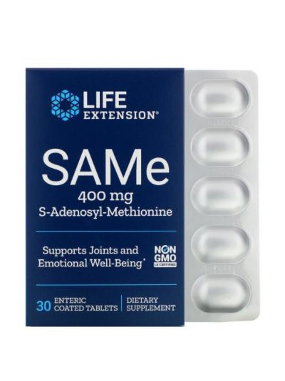 Life Extension, SAMe, S-Adenosyl-Methionin, 400 mg, 30 magensaftresistente Tabletten
