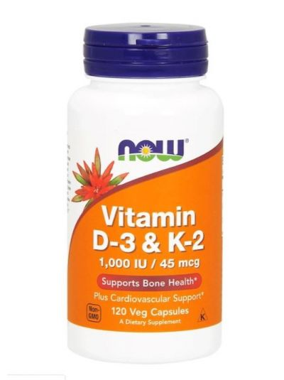 Now Foods Vitamin D-3 & K-2 1.000 IE / 45 mcg 120 vegetarische Kapseln