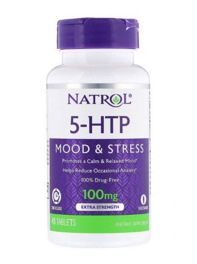 Natrol, 5-HTP, Time-Release (Zeitfreigabe), Extra Stärke, 100 mg, 45 Tabletten