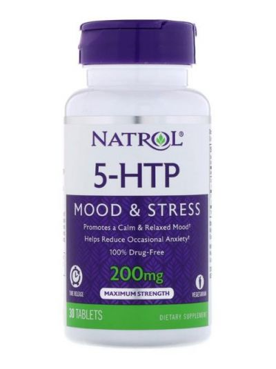 NATROL, 5-HTP, TIME-RELEASE (ZEITFREIGABE), Maximum STÄRKE, 200 MG, 30 TABLETTEN