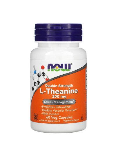Now Foods, L-Theanin, doppelte Stärke, 200 mg, 60 Gemüsekapseln
