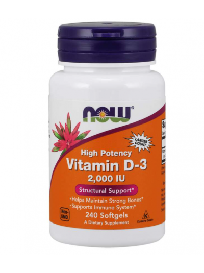 Now Foods Vitamin D-3, 2.000 IE, 240 Softgelkapseln