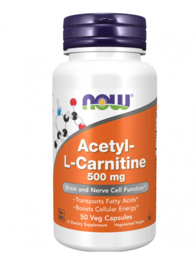 Now Foods Acetyl-L-Carnitine 500 mg 50 Veg Capsules