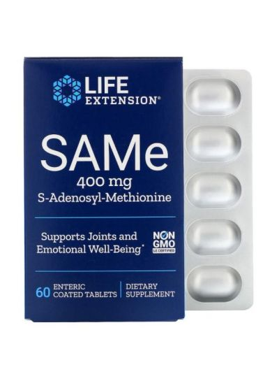Life Extension, SAMe, S-Adenosyl-Methionin, 400 mg, 60 magensaftresistente Tabletten