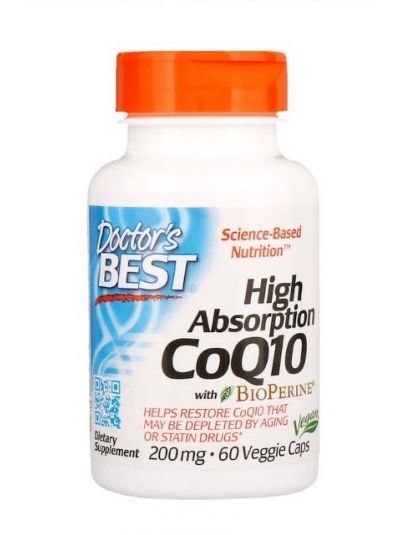 Doctor's Best Hohe Absorption Co-Q10 mit BioPerin 200 mg 60 Veggie-Kapseln