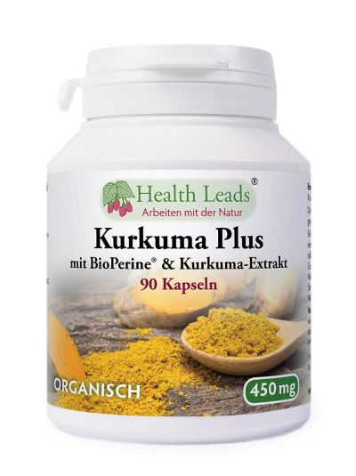 Health Leads Kurkuma Plus Curcumin mit BioPerine® & Kurkuma-Extrakt 450 mg x 90 Kaps
