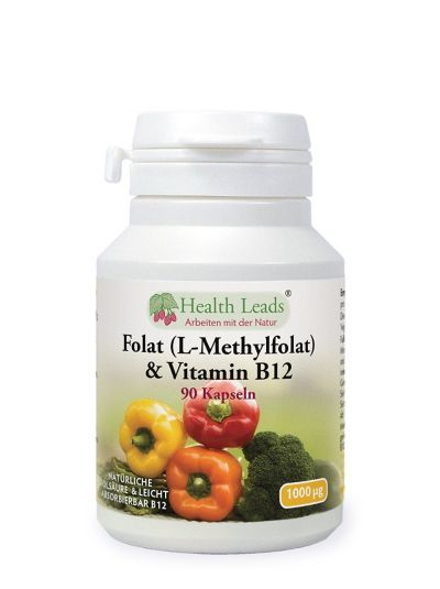 Health Leads Folat 500mcg & Vitamin B12 500mcg X 90 Kapseln