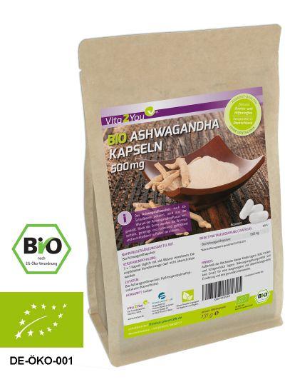 Vita2You Bio Ashwagandha Kapseln 1500mg 100% Bio Qualität - 180 Kapseln