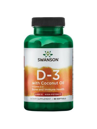 Swanson Vitamin D-3 2000IU mit Kokosöl 60 Softgels