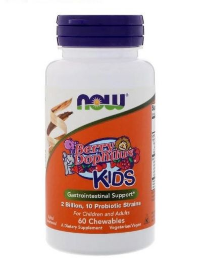 Now Foods Berry Dophilus Kinder 2 Milliarden 60 Kautabletten