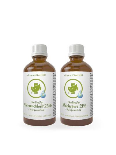 Vitalundfitmit100 EinsEinsSet Natriumchlorit + Milchsäure (Bestseller) [100 ml Set] Braunglas